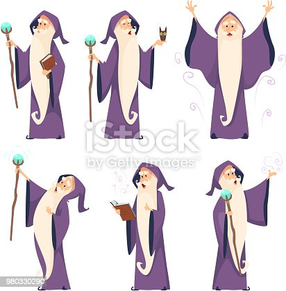 Cartoon wizard character in various poses. Magician sorcerer with wand, witchcraft and spell, vector illustration