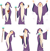 Cartoon wizard character in various poses