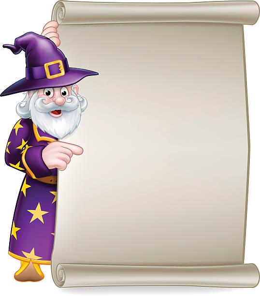 cartoon wizard halloween scroll sign - old man hat stock illustrations, clip art, cartoons, & icons