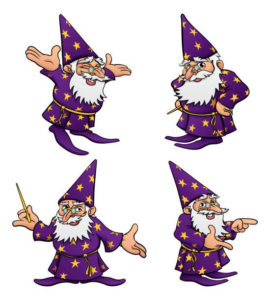 cartoon wizard mascot set - old man long beard silhouettes stock illustrations, clip art, cartoons, & icons