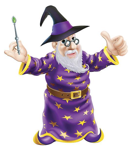 cartoon wizard - old man showing thumbs up cartoons stock illustrations, clip art, cartoons, & icons