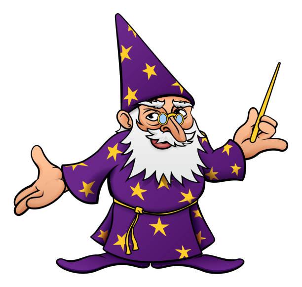 cartoon wizard - old man long beard silhouettes stock illustrations, clip art, cartoons, & icons