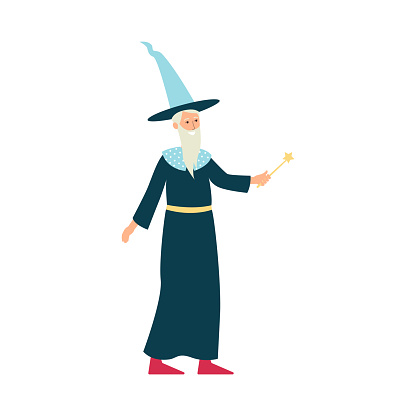 Cartoon wizard with costume and magic wand