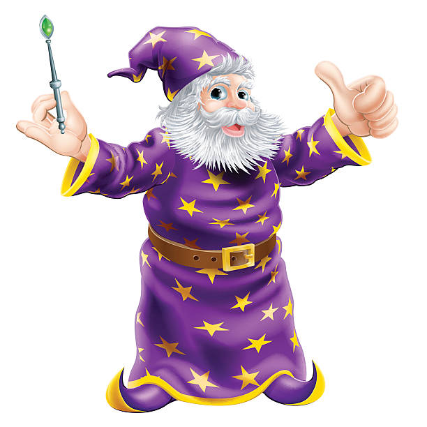 cartoon wizard with wand - old man long beard drawing stock illustrations, clip art, cartoons, & icons