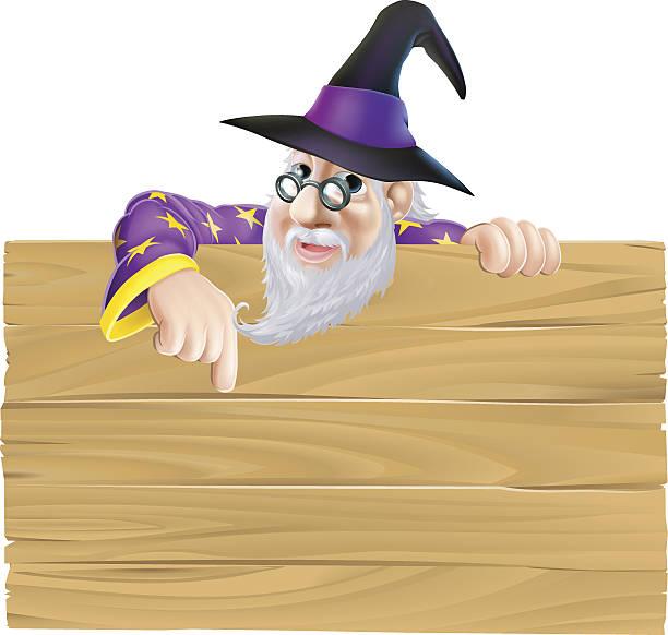 cartoon wizard wooden sign - old man long beard silhouettes stock illustrations, clip art, cartoons, & icons