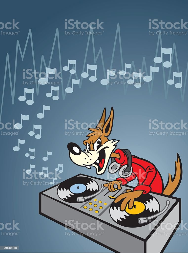 Мультяшная голова волка DJ - Векторная графика Без людей роялти-фри