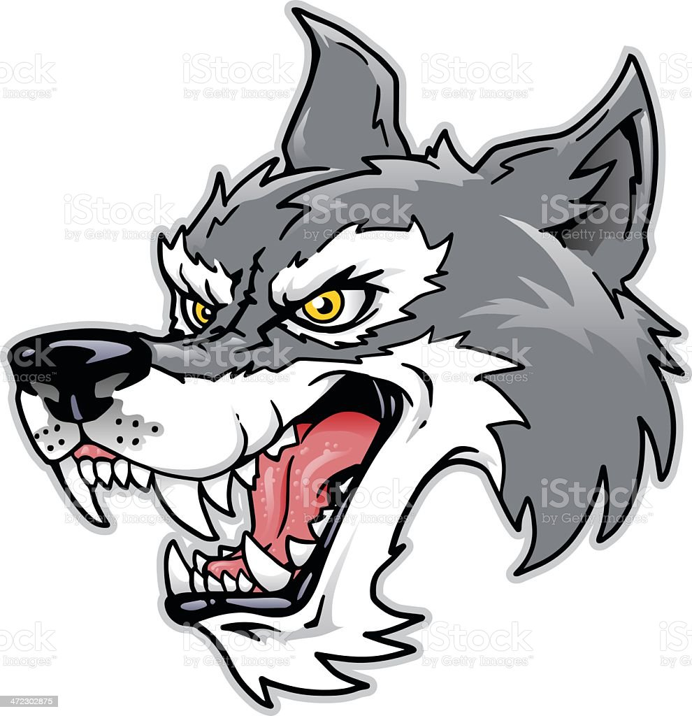 cartoon wolf head stock vector art & more images of anger 472302875