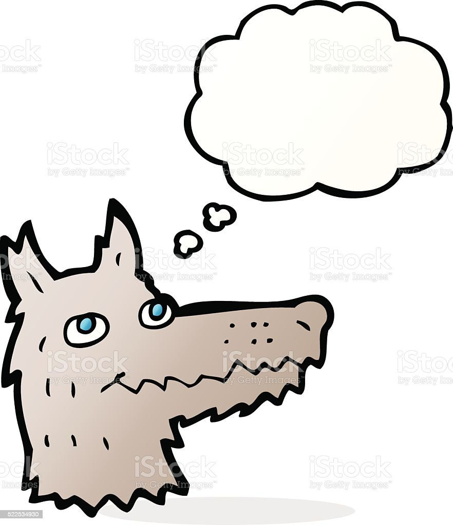 Cartoon Wolf Head With Thought Bubble Stock Vector Art & More
