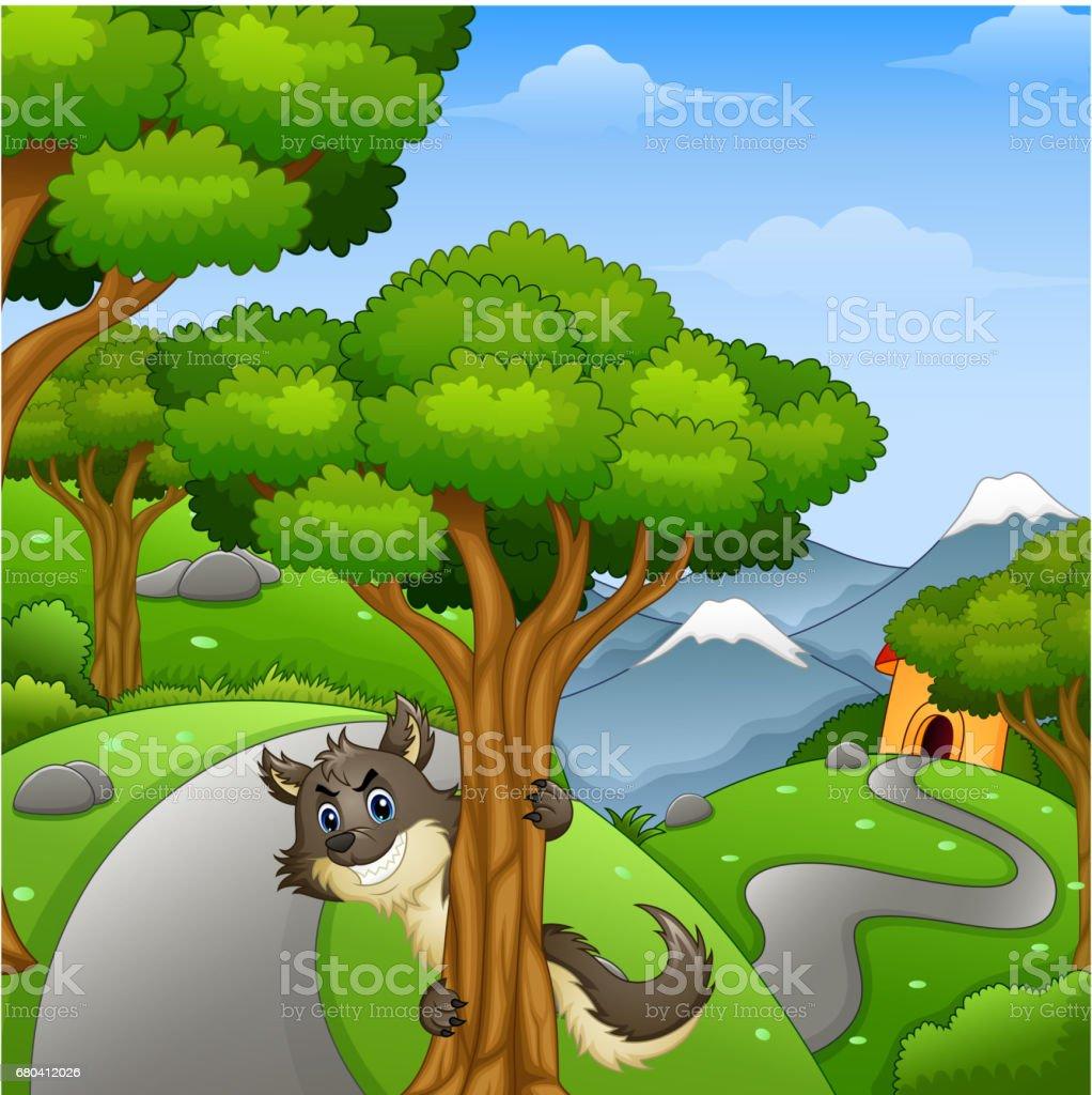 Vetores De Lobo De Desenho Animado A Espreita Em Forest Road E Mais Imagens De Animal Istock