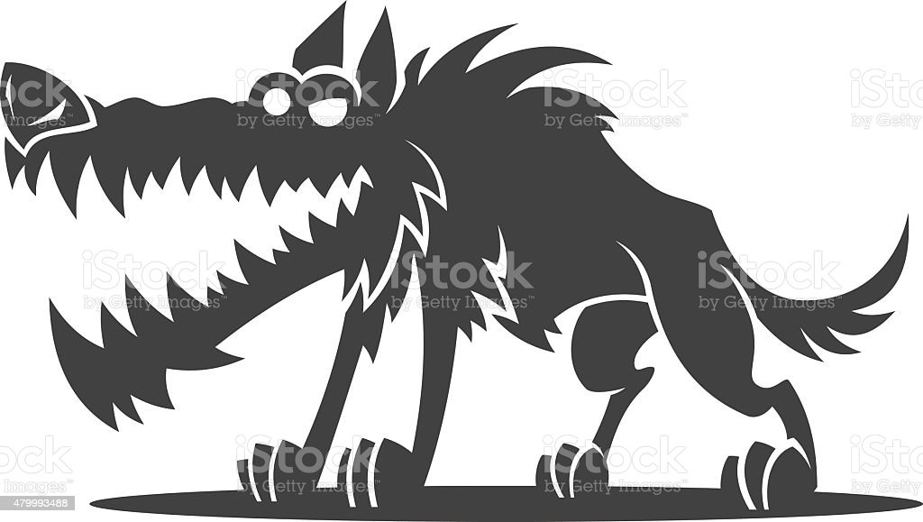 Cartoon wolf vector art illustration
