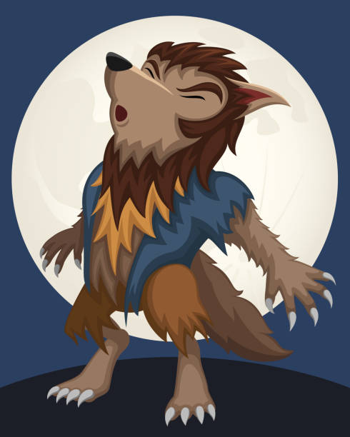 Cartoon Wolfman Vector illustration of a cartoon werewolf howling at the moon. Werewolf is on his own layer, easily separated from the background in a program like Illustrator, etc. Illustration uses no gradients, blends or meshes, only solid color. Includes AI10-compatible .eps format, along with a high-res .jpg. werewolf stock illustrations