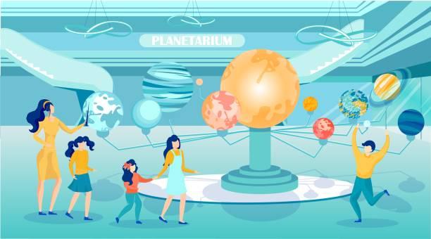 ilustrações de stock, clip art, desenhos animados e ícones de cartoon woman and children in planetarium room - teacher school solo