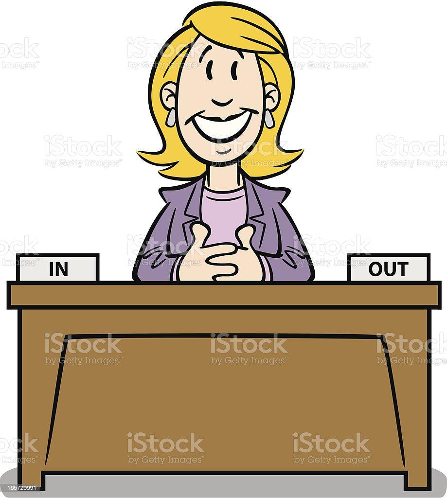 Schreibtisch büro comic  Comicfrau Am Schreibtisch Vektor Illustration 165729991 | iStock