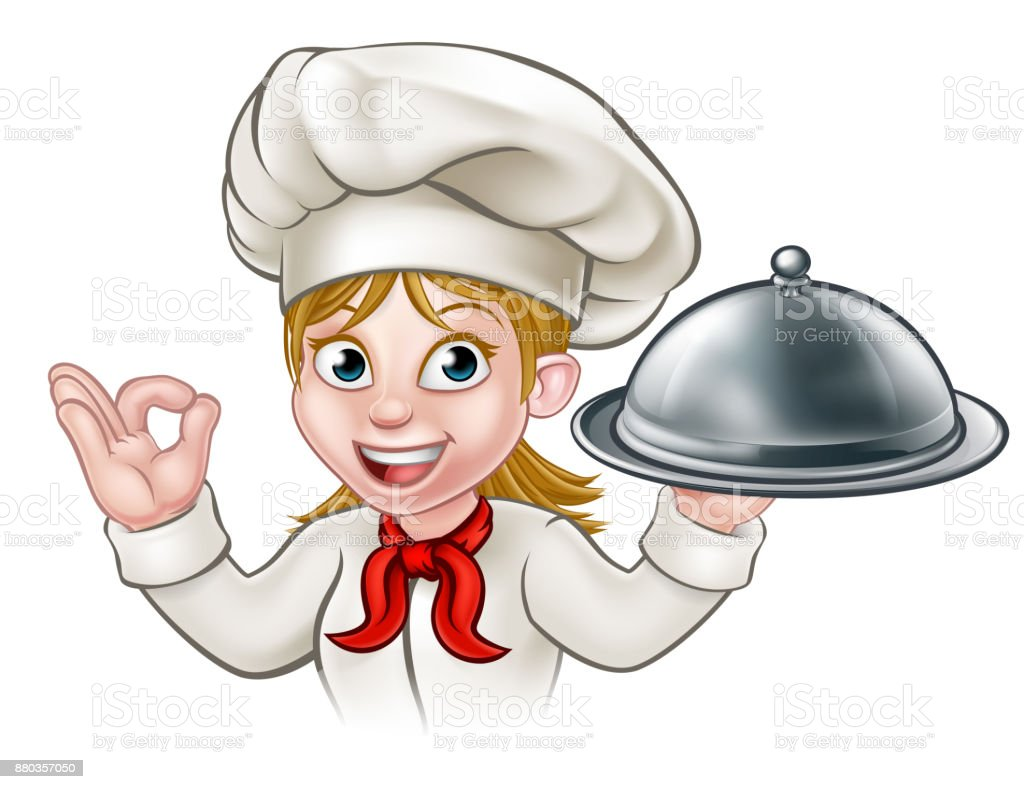 cartoon woman chef holding plate or platter stock vector