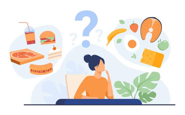 ilustrações de stock, clip art, desenhos animados e ícones de cartoon woman choosing between healthy meal and unhealthy food - woman eating salmon