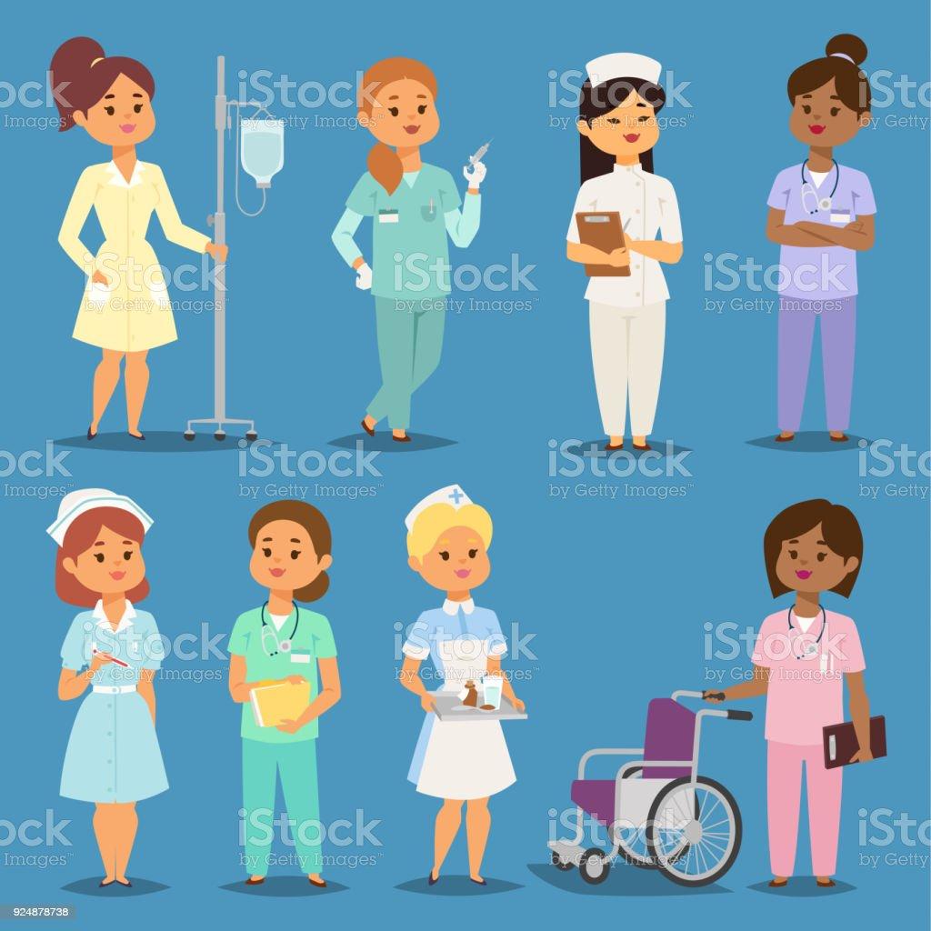 Ilustración De Médicos Enfermeras Vector Niña De Dibujos