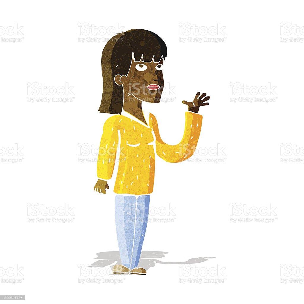 cartoon woman explaining vector art illustration