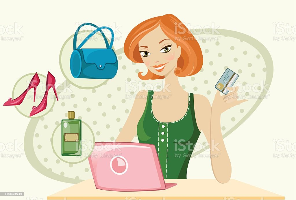 Cartoon woman holding credit card shopping via laptop royalty-free stock vector art