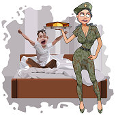 cartoon woman in camouflage uniform brought a cake for breakfast to a man