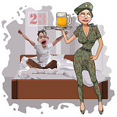 cartoon woman in camouflage uniform congratulates a man on February 23
