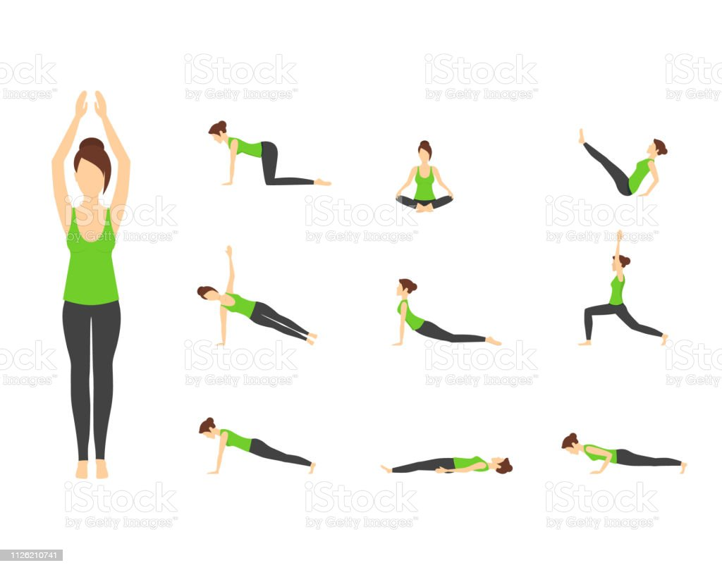 Cartoon Woman In Green Top Yoga Poses Icons Set Vector Stock Illustration Download Image Now Istock