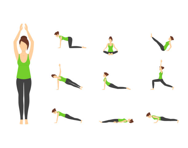 stockillustraties, clipart, cartoons en iconen met cartoon vrouw in groene top yoga vormt icons set. vector - rek