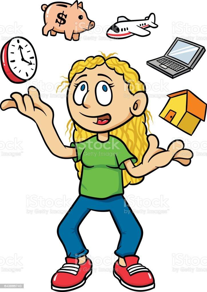 cartoon woman juggling time management vector illustration stock rh istockphoto com time management clipart illustrations time management clipart free