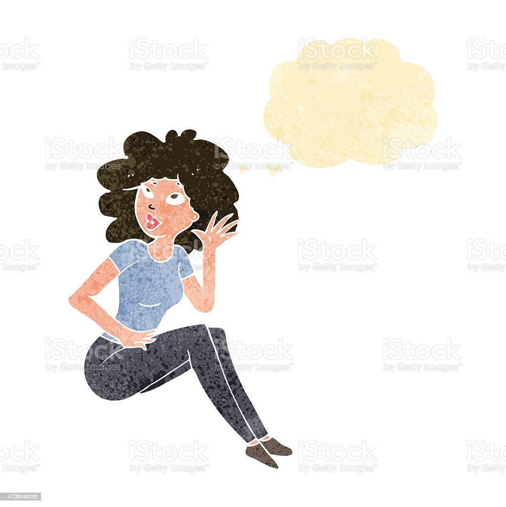 カットイラスト聞く女性思考の吹き出し付き のイラスト素材 473948036