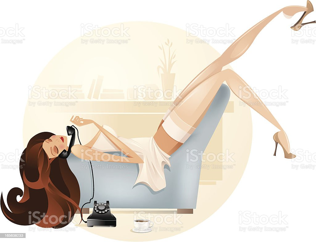 Cartoon Woman Lounging and Talking on Telephone royalty-free stock vector art