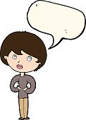 cartoon woman making Who Me? gesture with speech bubble