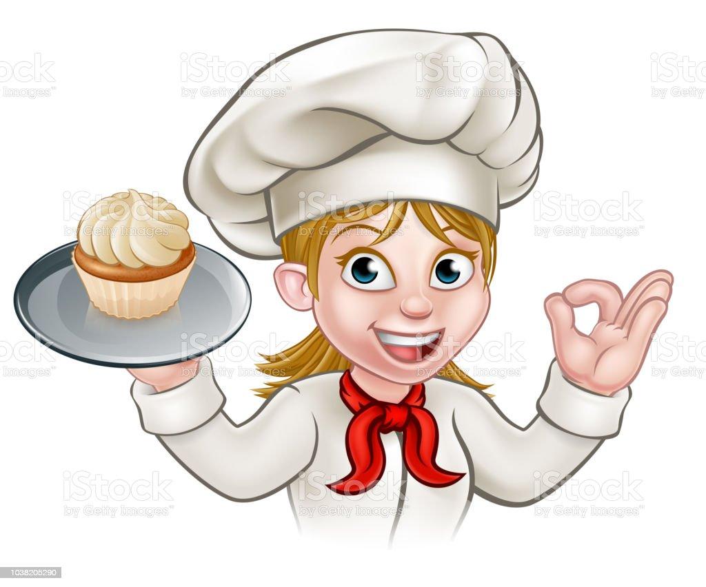 Dessin Animé Femme Pâtissier Boulanger Avec Cupcake Cliparts