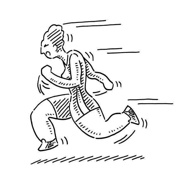Cartoon Woman Running Sport Drawing Hand-drawn vector drawing of a Cartoon Woman Running, Sport Concept. Black-and-White sketch on a transparent background (.eps-file). Included files are EPS (v10) and Hi-Res JPG. running stock illustrations
