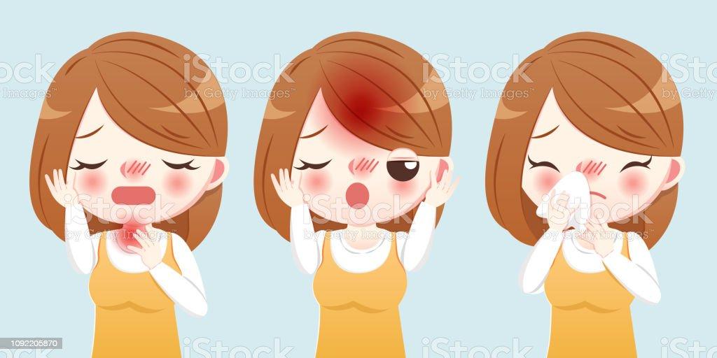 cartoon woman sick and sneeze vector art illustration
