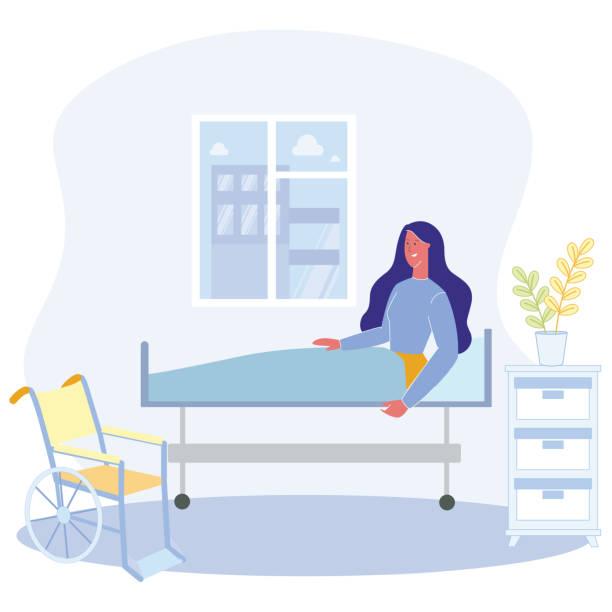 bildbanksillustrationer, clip art samt tecknat material och ikoner med tecknad kvinna sitter säng fysiskt handikappade person - sjukhusavdelning