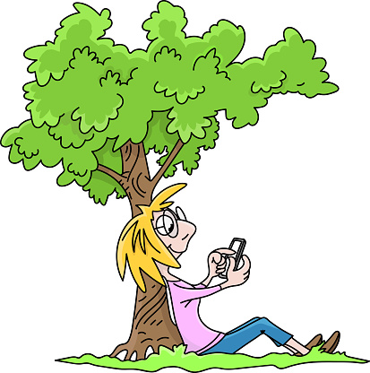 Cartoon Woman Sitting Under A Tree Checking Her Social Media Messages On Her Cell Phone Vector Illustration Stock Illustration Download Image Now Istock