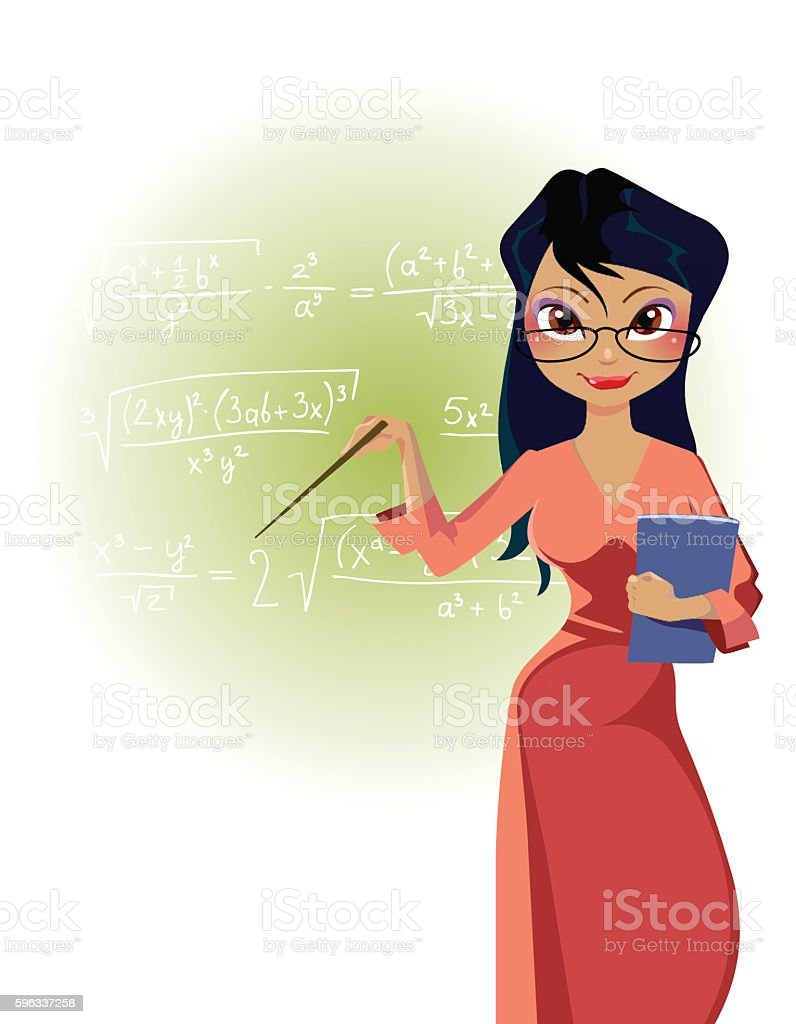 cartoon woman teacher on blackboard background with mathematical formulas Lizenzfreies cartoon woman teacher on blackboard background with mathematical formulas stock vektor art und mehr bilder von attraktive frau