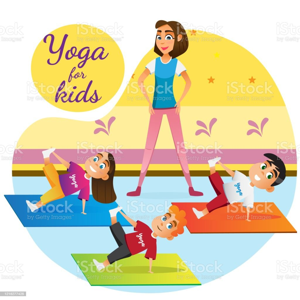 Cartoon Woman Teaching Children Yoga Lesson Room Stock Illustration Download Image Now Istock