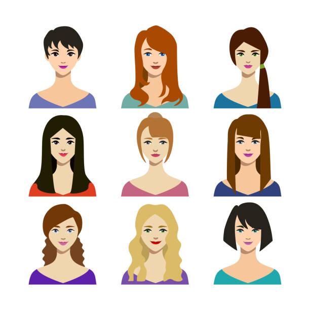 stockillustraties, clipart, cartoons en iconen met cartoon vrouw trendy kapsels icons set. vector - curly brown hair
