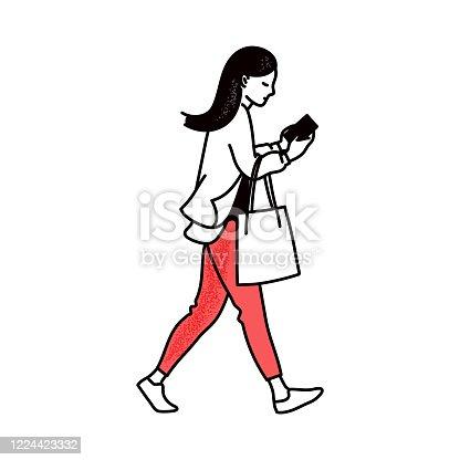 istock Cartoon woman walking while looking at smartphone screen 1224423332