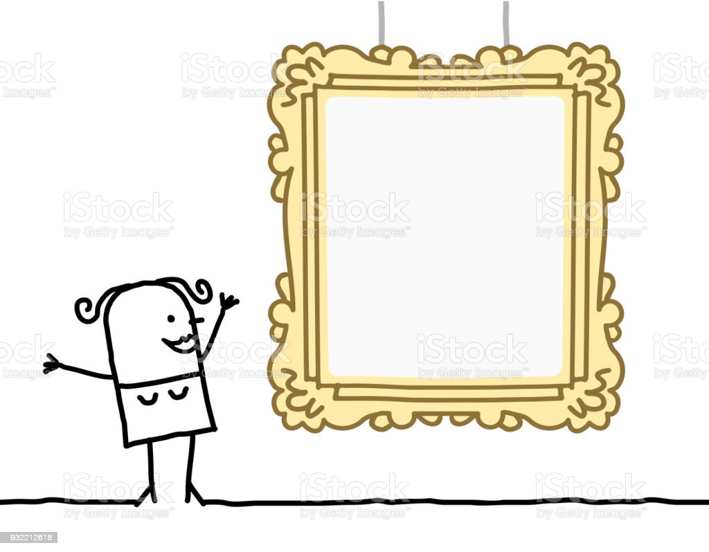 Cartoon Woman Watching A Blank Frame Stock Vector Art & More Images ...