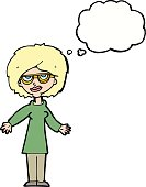 cartoon woman wearing glasses with thought bubble