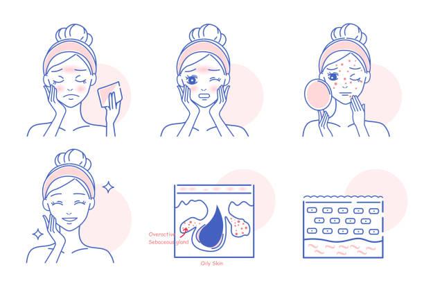 stockillustraties, clipart, cartoons en iconen met cartoon vrouw met gezicht olie - mirror mask