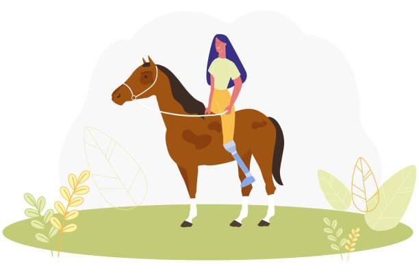 人工脚乗馬を持つ漫画の女性 - 乗馬点のイラスト素材/クリップアート素材/マンガ素材/アイコン素材