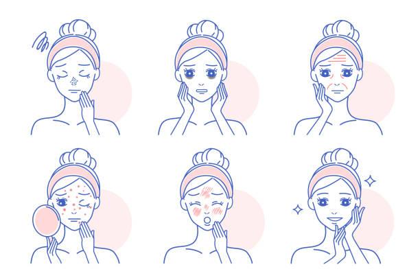 stockillustraties, clipart, cartoons en iconen met cartoon vrouw met huidproblemen - menselijke huid