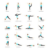 Cartoon Woman Yoga Poses Icons Set Fitness Exercise for Female Body Concept Flat Design Style. Vector illustration of Pose or Asana