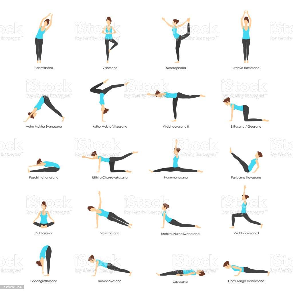 Dibujos animados mujer Yoga Poses iconos conjunto. Vector de - ilustración de arte vectorial