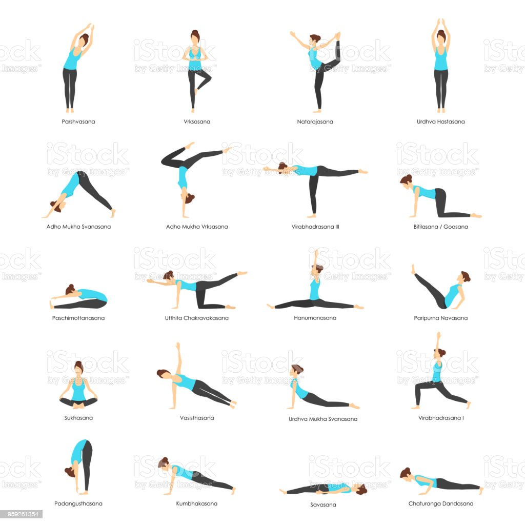 Cartoon Woman Yoga Poses Icons Set. Vector vector art illustration