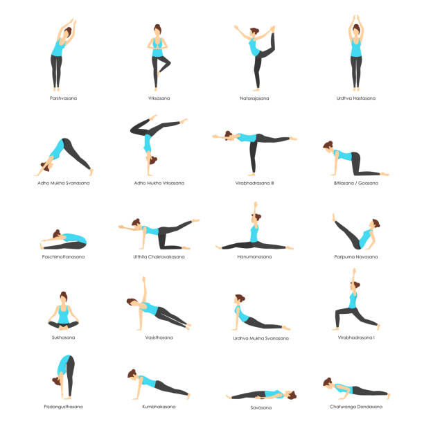 stockillustraties, clipart, cartoons en iconen met cartoon vrouw yoga poses icons set. vector - rek