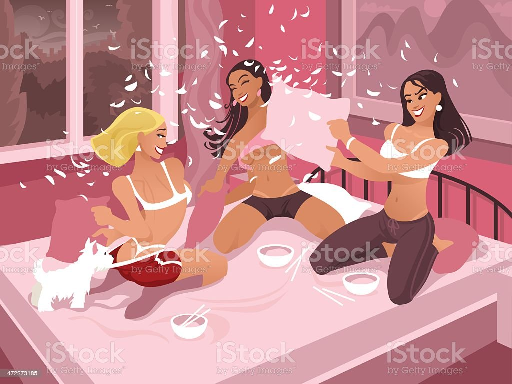 Cartoon Women Having a Pillow Fight vector art illustration