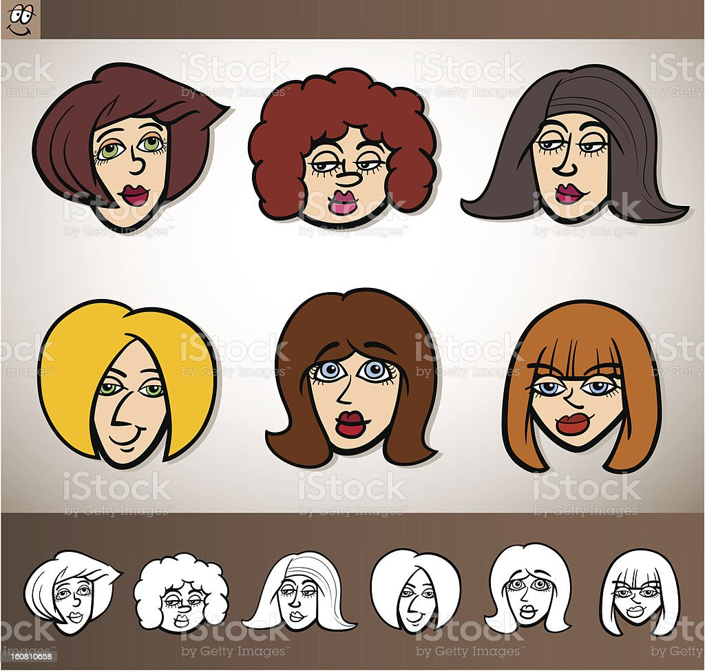 cartoon women heads set illustration royalty-free cartoon women heads set illustration stock vector art & more images of adult